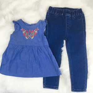 Embroidered Dress Top with Jean Pants 18 month